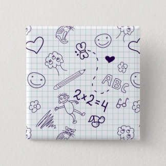 Children's Drawing Pattern Pinback Button
