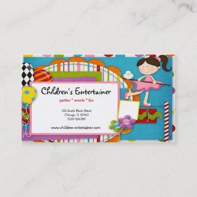 Childrens entertainer business card zazzle colourmoves