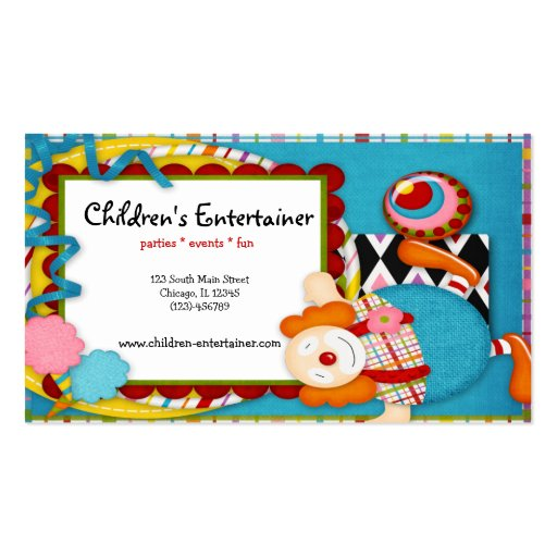 Clowns business card templates bizcardstudio childrens entertainer business card template colourmoves
