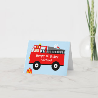 Children's Fire Truck Personaloized Birthday Card