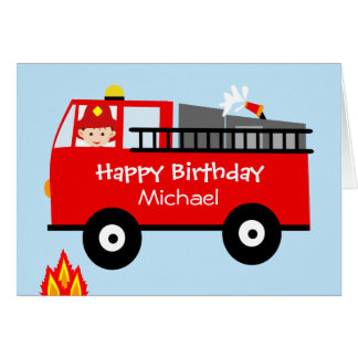 Children's Fire Truck Personaloized Birthday Card