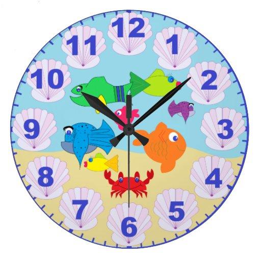 Children's Fun Aquarium Fish Clock with Numbers