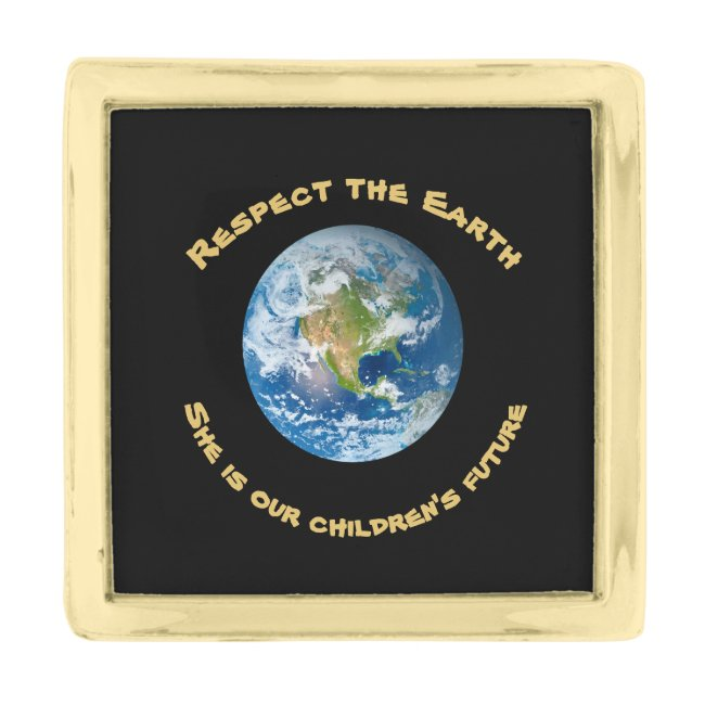 Childrens Future Respect Planet Earth Lapel Pin