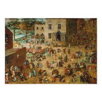 Childrens Games by Pieter Bruegel the Elder 5x7 Paper Invitation Card