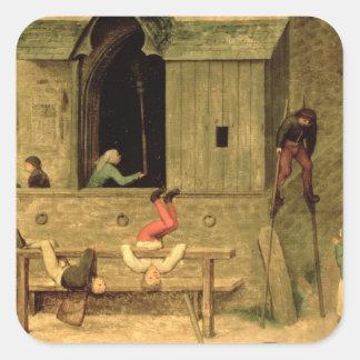 Children's Games : detail of a boy on stilts Square Sticker