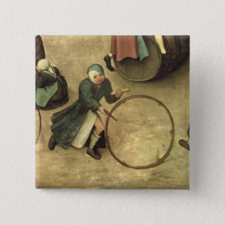 Children's Games : detail of a child with a Pinback Button