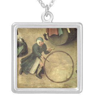 Children's Games : detail of a child with a Square Pendant Necklace