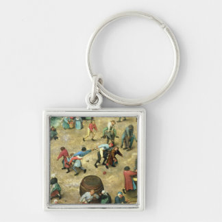 Children's Games : detail of bottom Silver-Colored Square Keychain