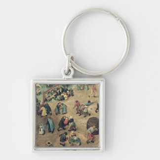 Children's Games : detail of left-hand section Silver-Colored Square Keychain