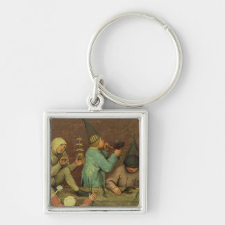 Children's Games : detail of left-hand Silver-Colored Square Keychain
