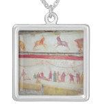 Children's games square pendant necklace
