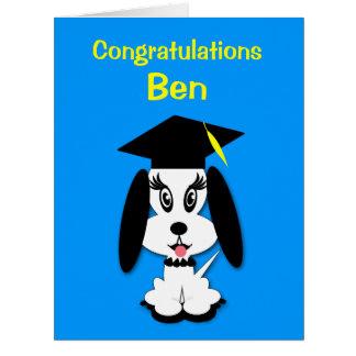 Childrens Graduation Kute Dog Congratulations Card
