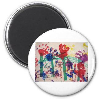 Children's handprint Garden 2 Inch Round Magnet