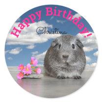 Children's Happy Birthday Party Guinea Pig Flowers Classic Round Sticker
