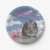 Children's Happy Birthday Party Guinea Pig Sky Paper Plate