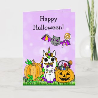 Children's Happy Halloween Purple Unicorn Cartoon Card
