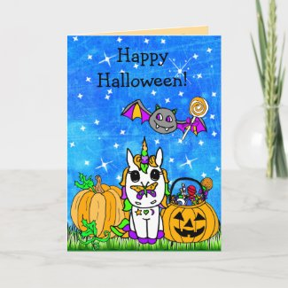 Children's Happy Halloween Unicorn Cartoon Card