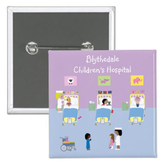 Children's Hospital Ward Customizable 2 Inch Square Button