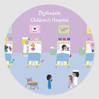 Children's Hospital Ward Customizable Classic Round Sticker