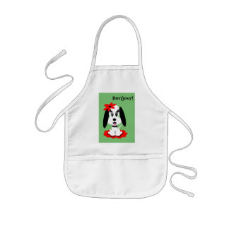 Childrens Kute Doggy w Red Flower Hat Aprons