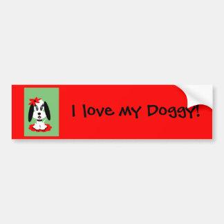 Childrens Kute Doggy w Red Flower Hat Bumper Sticker