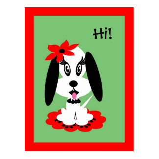 Childrens Kute Doggy w Red Flower Hat Postcard