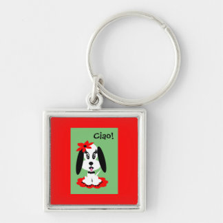 Childrens Kute Doggy w Red Flower Hat Silver-Colored Square Keychain