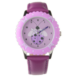 Childrens Lavender Ladybug Numbered Watches