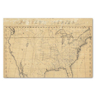 """Children's Map Of The United States 10"""" X 15"""" Tissue Paper"""
