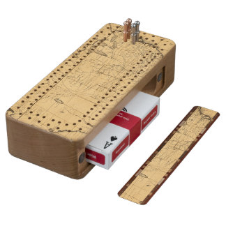 Children's Map Of The United States Cherry Cribbage Board