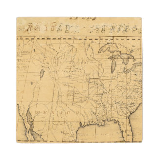 Children's Map Of The United States Maple Wood Coaster