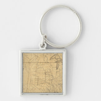 Children's Map Of The United States Silver-Colored Square Keychain