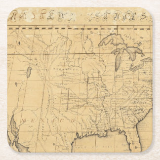 Children's Map Of The United States Square Paper Coaster