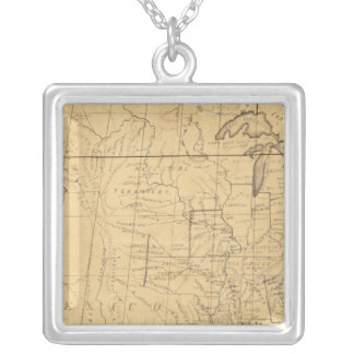 Children's Map Of The United States Square Pendant Necklace