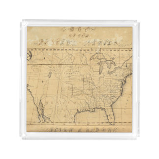 Children's Map Of The United States Square Serving Trays
