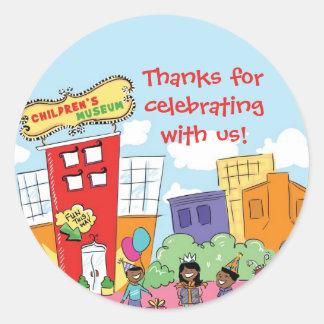 Childrens Museum African American Round Label Classic Round Sticker