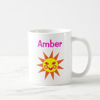 Children's Name Mug Funny Happy Face Yellow Sun