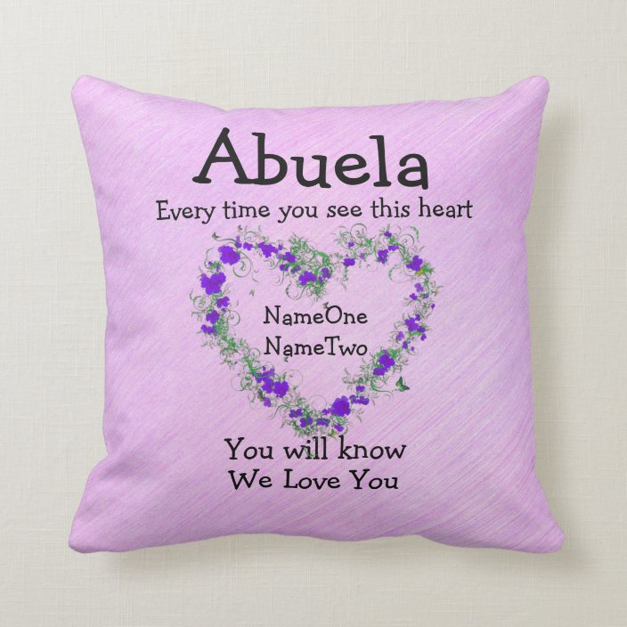 Children S Names Change Abuela See Heart Love You Throw Pillow Zazzle Com