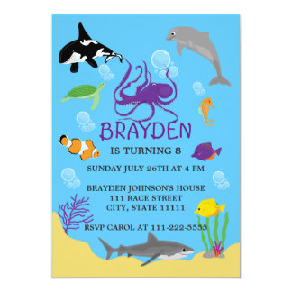 Children's Ocean Themed Birthday Invitation