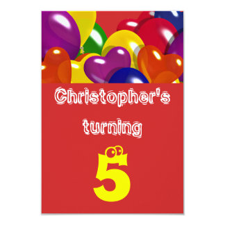 """Childrens party balloons """"any age"""" 3.5"""" x 5"""" invitation card"""