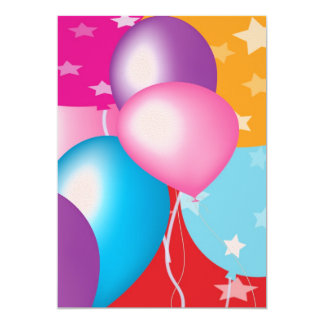 Children's Party Invitation - Baloons on Front V2