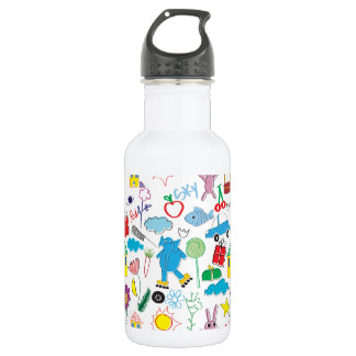 Children's Play Pattern - Elephant, Playtime Stainless Steel Water Bottle