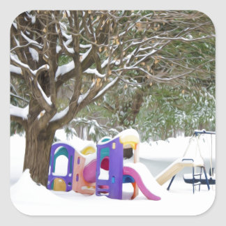 Children's playground in the snow square sticker