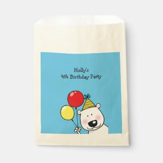children's polar bear balloons birthday party favor bags