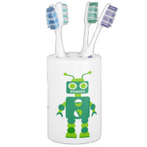 Children's Rainbow Colored Robots Robot Pattern Soap Dispenser & Toothbrush Holder