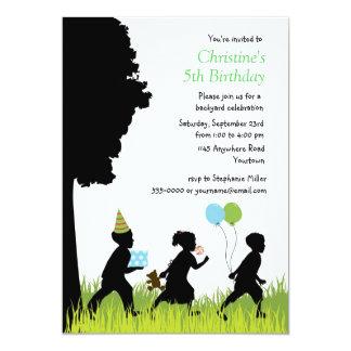Children's Silhouette Backyard Birthday 5x7 Paper Invitation Card
