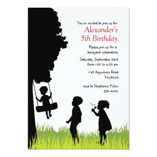 "Children's Silhouettes Outdoor Birthday 5"" X 7"" Invitation Card"