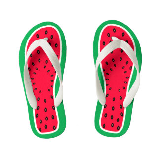 Children's Size Funny Watermelon Slice Look Kid's Flip Flops
