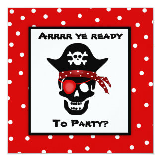 Children's Skull Pirate Polka Dot Birthday Party Card