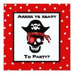 Children's Skull Pirate Polka Dot Birthday Party Custom Invitation